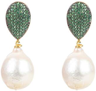 At Wolf Badger Latelita Clic Baroque Pearl Cz Drop Earrings Emerald Green