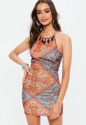 Missguided Orange 90s Neck Paisley Print Tassel Bodycon Dress