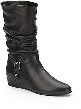 Stuart Weitzman Rugerio Scrunched Leather Boots/Black