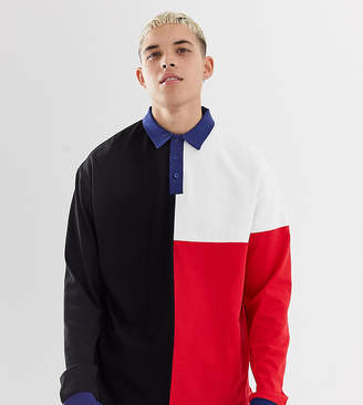 Collusion COLLUSION cut and sew panel rugby shirt in black