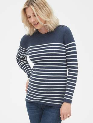 Gap Maternity Stripe Button-Shoulder Pullover Sweater