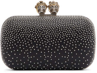 Alexander McQueen Black Embellished King and Queen Clutch