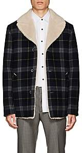 Lanvin Men's Sherpa-Lined Checked Wool Coat - Navy
