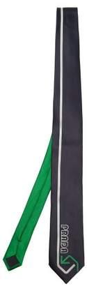 Prada Logo Embroidered Silk Satin Tie - Mens - Blue