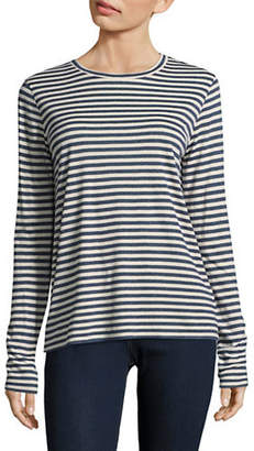 Vince Silk-Blend Striped Long Sleeve Tee
