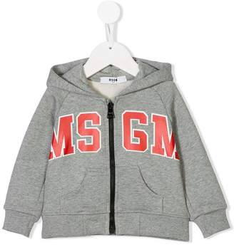 MSGM Kids logo print zip hoodie