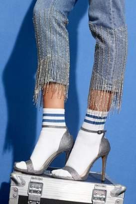 Topshop Limited Edition Straight Leg Dazzle Hem Jeans