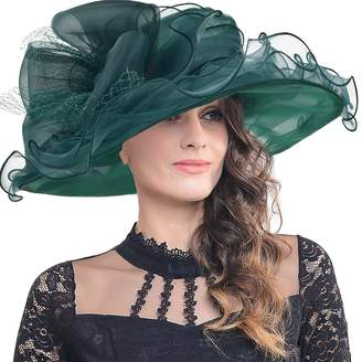 Church's FORBUSITE Women Kentucky Derby Dress Organza Hat Wide Brim Flat Hat S601