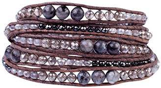 Chan Luu Black Labradorite Mix of Semi Precious Stones and Nuggets Dark Brown Leather Wrap Bracelet