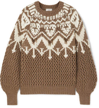 Brunello Cucinelli Bead-embellished Fair Isle Cashmere Sweater - Brown