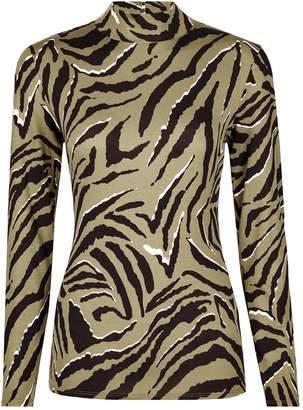 17cde03faa7 Dorothy Perkins Womens Khaki Zebra Print High Neck Top