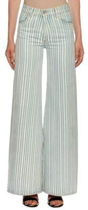 Off-White High-Waist Striped Flare Leg Jeans