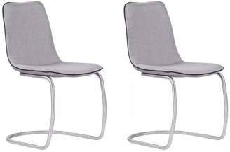 Dwellist Helen Dining Chairs, Brushed Stainless Steel and Pewter Fabric