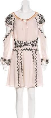 For Love & Lemons Embroidered Cold-Shoulder Dress w/ Tags