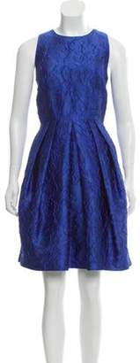 Carmen Marc Valvo Floral Patterned Pleated Dress Royal Floral Patterned Pleated Dress