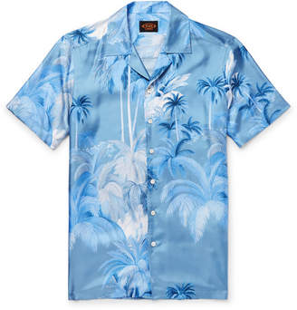 Tod's Camp-Collar Printed Silk-Twill Shirt - Blue