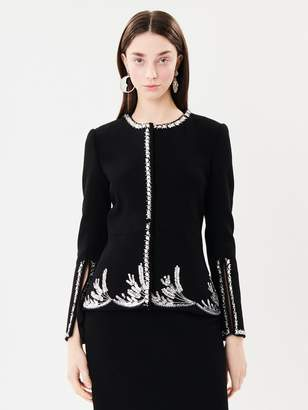 Oscar de la Renta Embroidered Stretch-Wool Crepe Jacket