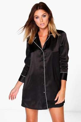boohoo Faith Satin Contrast Piping Night Shirt