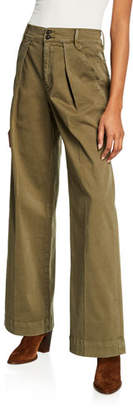 Frame Stretch-Cotton Wide-Leg Trousers