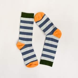 Blade + Blue Grey Heather with Olive & Orange Rugby Stripe Socks