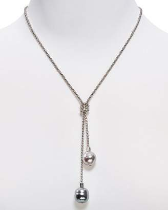 Majorica Love Knot Simulated Pearl Lariat Necklace, 16""