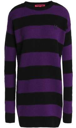 McQ Appliquéd Striped Wool And Cashmere-Blend Mini Dress
