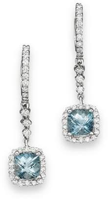 Bloomingdale's Aquamarine and Diamond Drop Earrings in 14K White Gold - 100% Exclusive