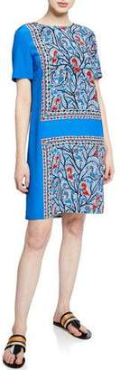 Tory Burch Mallory Short-Sleeve Framed Bird-Print Silk Dress