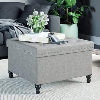 Nathan James Payton Foldable Ottoman Chest and Foot Rest with Storage, Square Smokey Grey Upholstered Fabric, Silver Nailheads