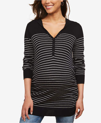 Motherhood Maternity Striped Henley Sweater