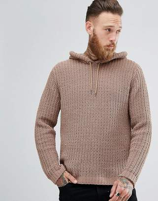 Asos DESIGN Textured Chenille Hoodie in Sable