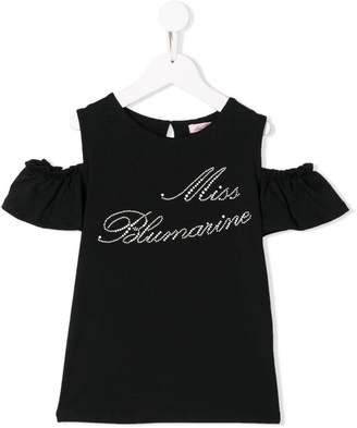Miss Blumarine logo shoulder cutout T-shirt