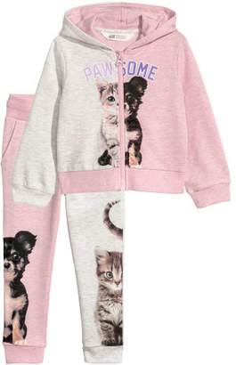 H&M Hooded Jacket and Joggers - Pink