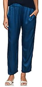 Raquel Allegra Women's Textured Satin Crop Pants - Blue