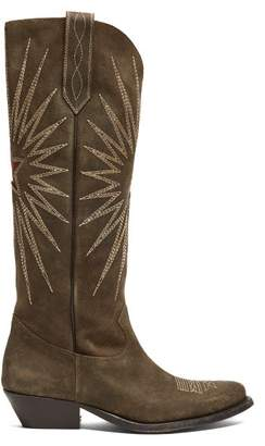 Golden Goose Wish Star Embroidered Suede Boots - Womens - Khaki Multi