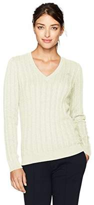 Lacoste Women's Cotton V Neck-New Cable Pattern