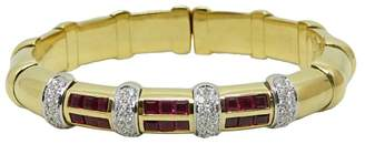 18K Yellow Gold with Diamond and Ruby Bangle Bracelet