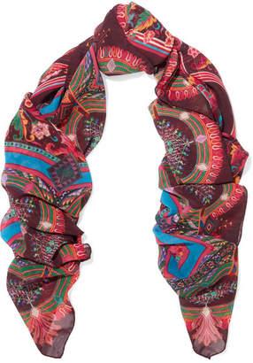 Etro - Printed Silk-chiffon Scarf - Burgundy $610 thestylecure.com