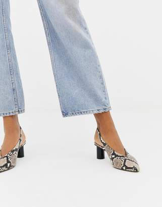 Office Mischief snake effect slingback heeled shoes