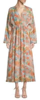 Elizabeth and James Floral V-Neck Silk Maxi Dress