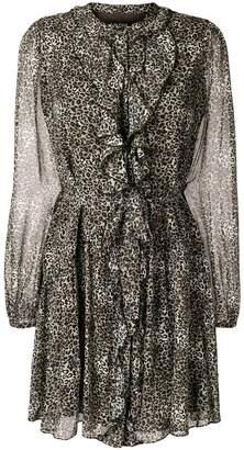 Saloni leopard print ruffled dress