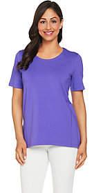 Denim & Co. Essentials Scoopneck T-shirt withForward Seam