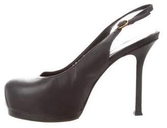 Saint Laurent Leather Round-Toe Sandals
