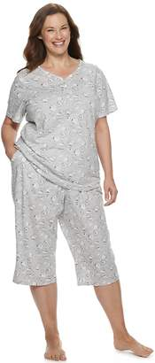 Croft & Barrow Plus Size Sleep Henley & Skimmer Capri Pajama Set