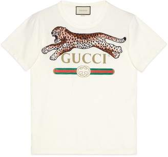 Gucci Oversize T-shirt with logo and leopard