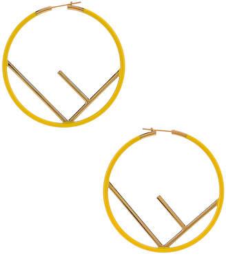 Fendi Logo Hoop Earrings in Fluo Yellow | FWRD