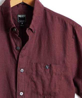 Todd Snyder Short Sleeve Linen Button Down Shirt in Maroon