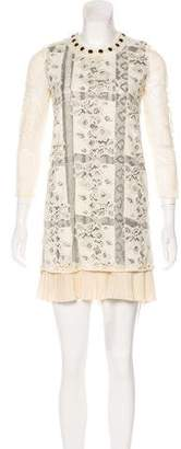 Just Cavalli Long Sleeve Lace Mini Dress