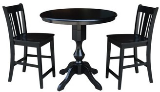 """INC International Concepts 36"""" Round Counter Height Table with 2 San Remo Stools - Black - 3 Piece Set"""