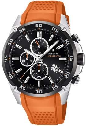 Festina 'The Originals collection' Men's Quartz Watch with Black Dial Chronograph Display and Orange Rubber strap F20330/4